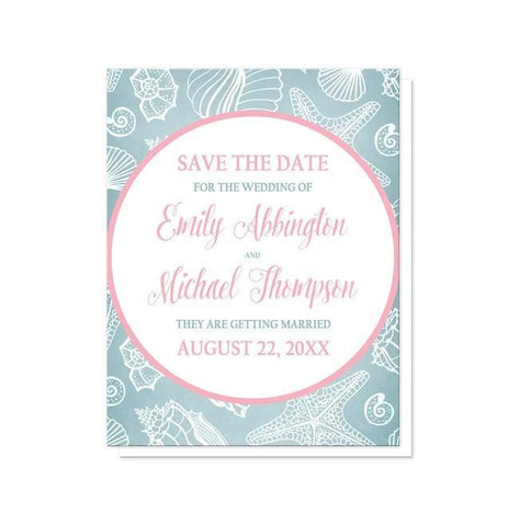 Blue Seashell Pink Beach Save the Date Cards - Artistically Invited