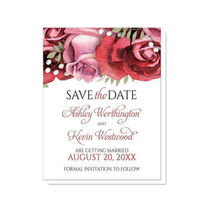 Burgundy Red Pink Rose Save the Date Cards - Artistically Invited