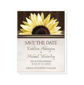 Country Sunflower Over Wood Rustic Save the Date Cards - Artistically Invited