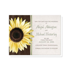 Country Sunflower Wood Brown Green Save the Date Cards - Artistically Invited