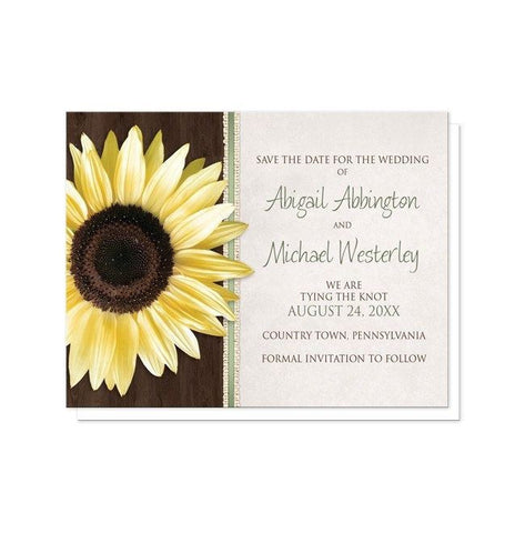 Save The Date Cards - Country Sunflower Wood Brown Green