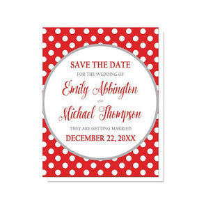 Gray and Red Polka Dot Save the Date Cards - Artistically Invited