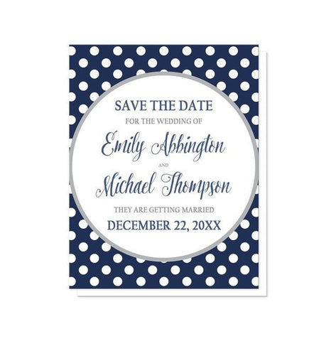 Gray Navy Blue Polka Dot Save the Date Cards - Artistically Invited
