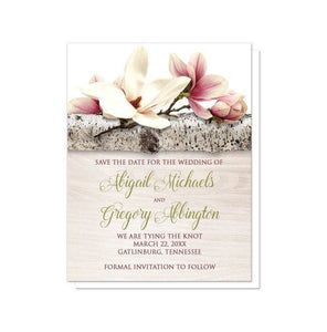 Magnolia Birch Light Wood Floral Save the Date Cards - Artistically Invited