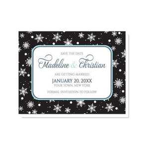 Midnight Snowflake Winter Save the Date Cards - Artistically Invited