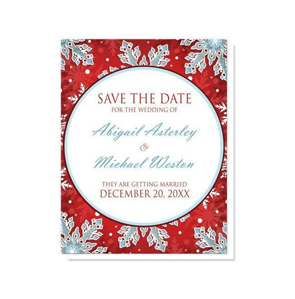 Modern Red White Blue Snowflake Save the Date Cards - Artistically Invited