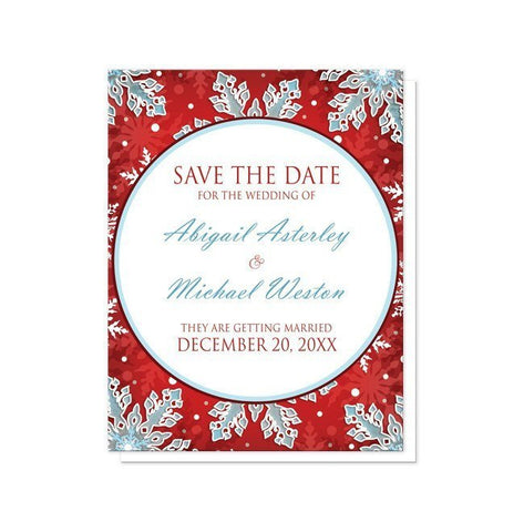 Save The Date Cards - Modern Red White Blue Snowflake