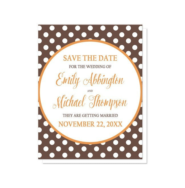 Orange Brown Polka Dot Save the Date Cards at  Artistically Invited