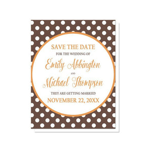 Orange Brown Polka Dot Save the Date Cards - Artistically Invited