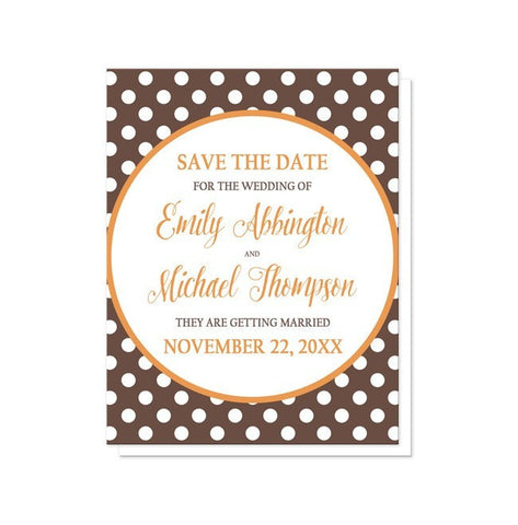 Save The Date Cards - Orange Brown Polka Dot