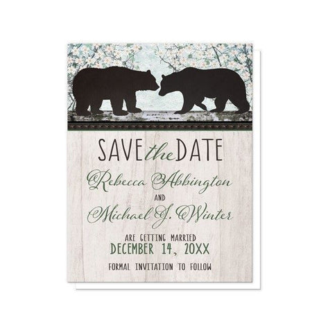 Rustic Bear Floral Wood Save the Date Cards - Artistically Invited