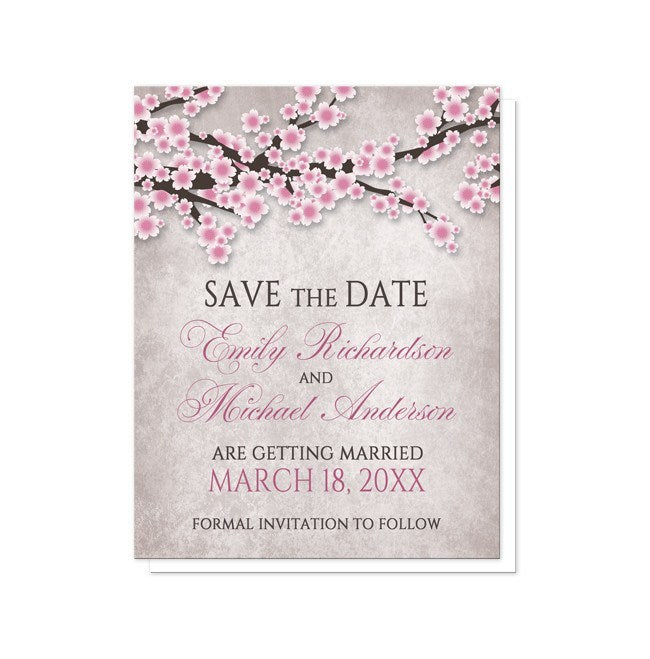 Rustic Cherry Blossom Pink Save the Date Cards at  Artistically Invited