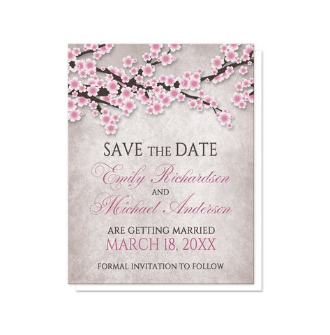 Save The Date Cards - Rustic Cherry Blossom Pink