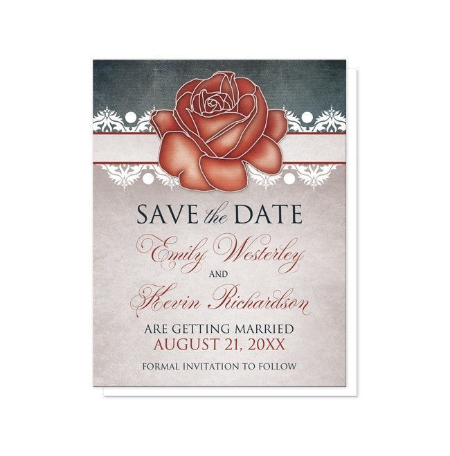Rustic Country Rose Blue Save the Date Cards at  Artistically Invited