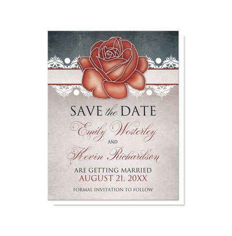 Save The Date Cards - Rustic Country Rose Blue