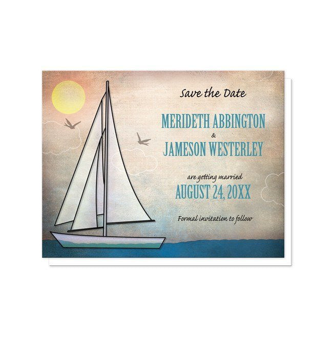 Rustic Sailboat Nautical Save the Date Cards at  Artistically Invited
