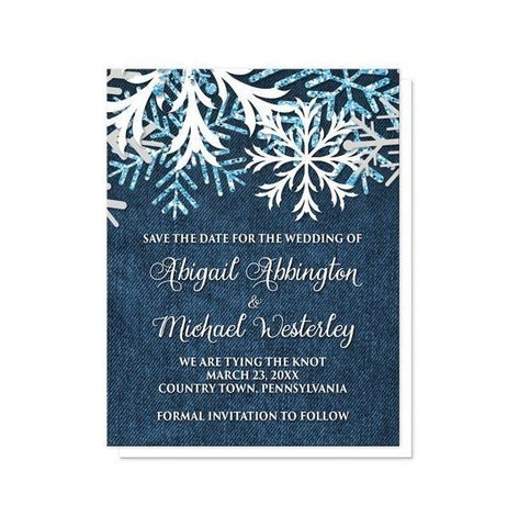 Rustic Snowflake Navy Denim Save the Date Cards - Artistically Invited