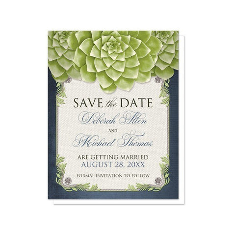 Save The Date Cards - Rustic Succulent Garden Navy