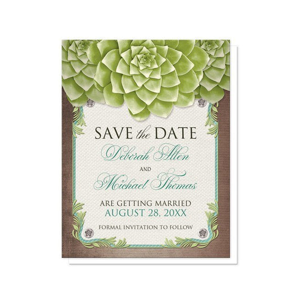 Rustic Succulent Garden Save the Date Cards - Artistically Invited