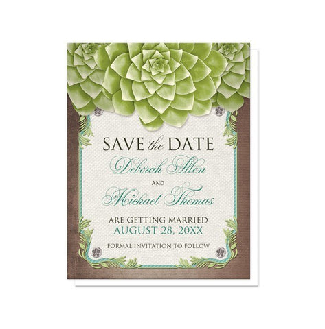 Save The Date Cards - Rustic Succulent Garden