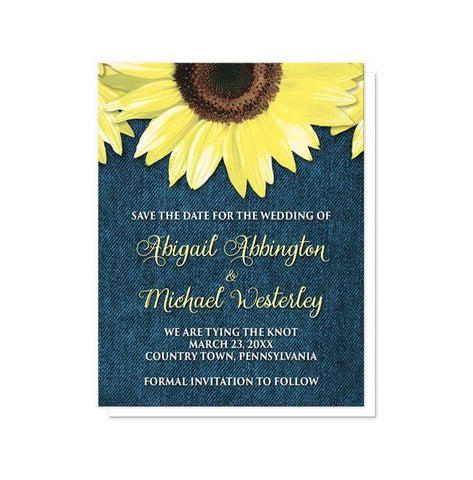Rustic Sunflower and Denim Save the Date Cards - Artistically Invited