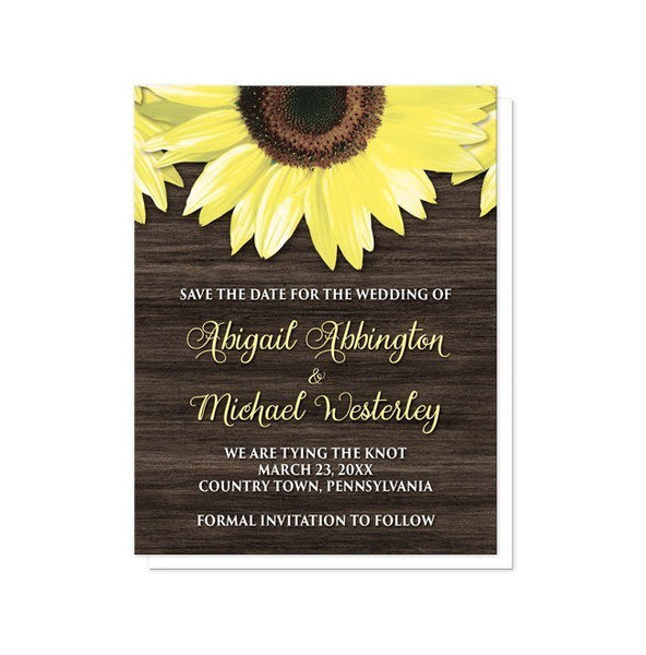 Rustic Sunflower and Wood Save the Date Cards - Artistically Invited