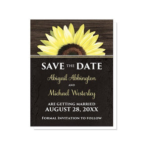 Rustic Sunflower with Black Save the Date Cards - Artistically Invited