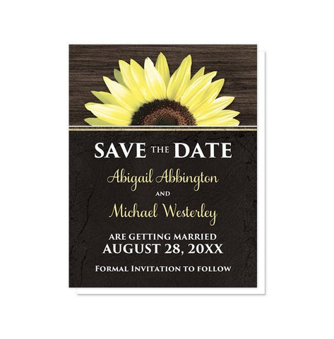 Save The Date Cards - Rustic Sunflower With Black