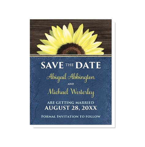Save The Date Cards - Rustic Sunflower With Blue