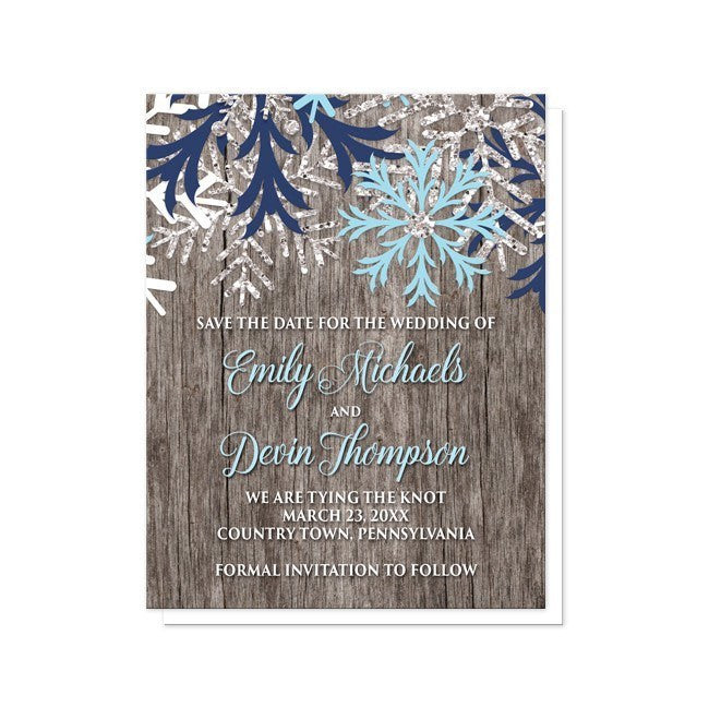 Rustic Winter Wood Aqua Navy Snowflake Save the Date Cards - Artistically Invited