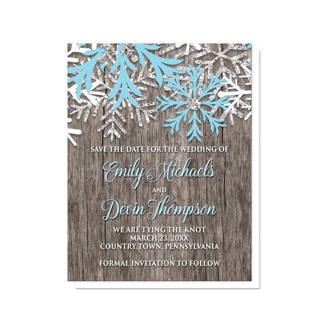 Rustic Winter Wood Blue Snowflake Save the Date Cards - Artistically Invited