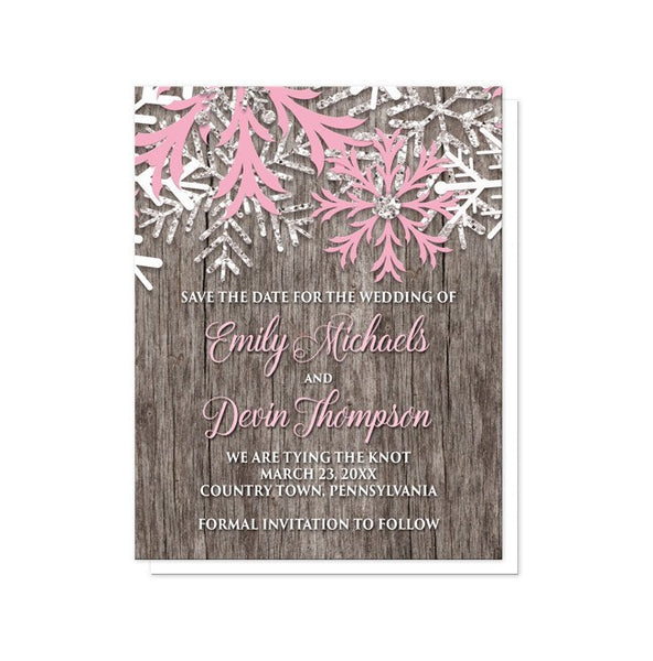 Rustic Winter Wood Pink Snowflake Save the Date Cards - Artistically Invited