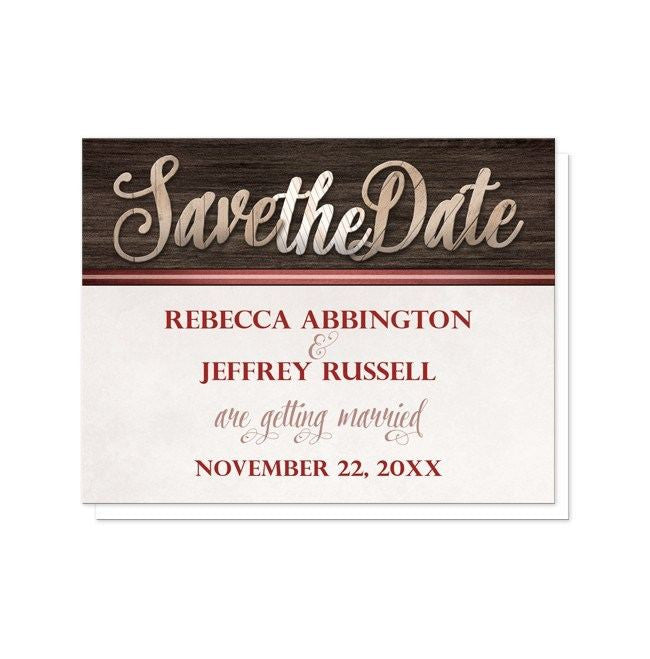 Rustic Wood Lettering with Red Save the Date Cards - Artistically Invited