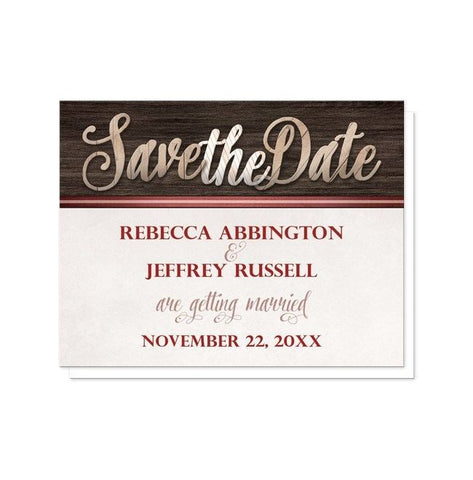 Save The Date Cards - Rustic Wood Lettering With Red