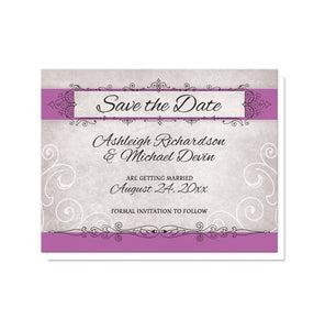 Vintage Orchid Purple Ornate Save the Date Cards - Artistically Invited