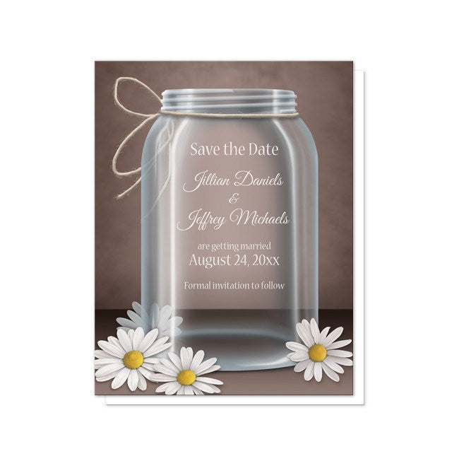 Vintage Rustic Mason Jar Daisy Save the Date Cards at  Artistically Invited