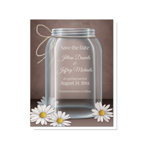 Vintage Rustic Mason Jar Daisy Save the Date Cards - Artistically Invited