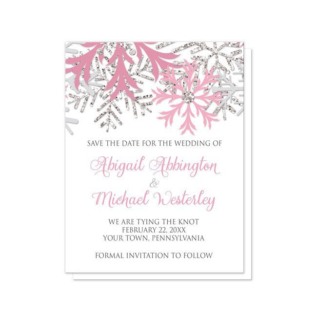 Winter Snowflake Pink Silver Save the Date Cards - Artistically Invited