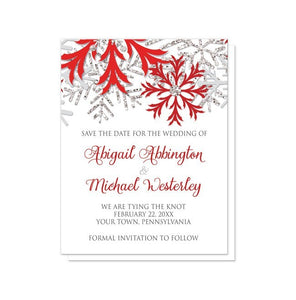 Winter Snowflake Red Silver Save the Date Cards - Artistically Invited