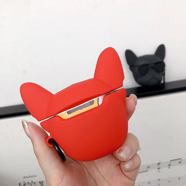 3D French Bulldog Silicone Wireless Earphone Charging Box Protector