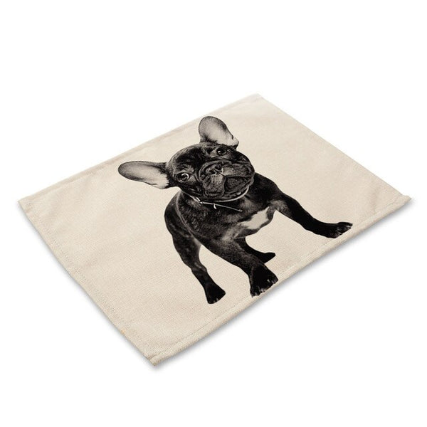 42x32cm French Bulldog Dining Table Mat Bowls