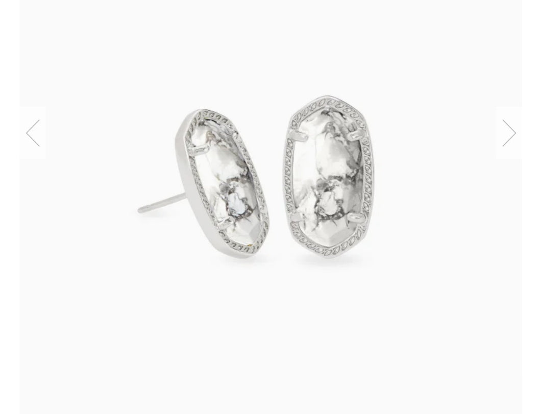 Kendra Scott Ellie Silver Stud Earrings in White Howlite