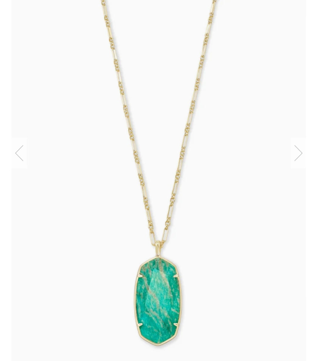 Kendra Scott Faceted Reid Gold Long Pendant Necklace in Dark Teal Amazonite