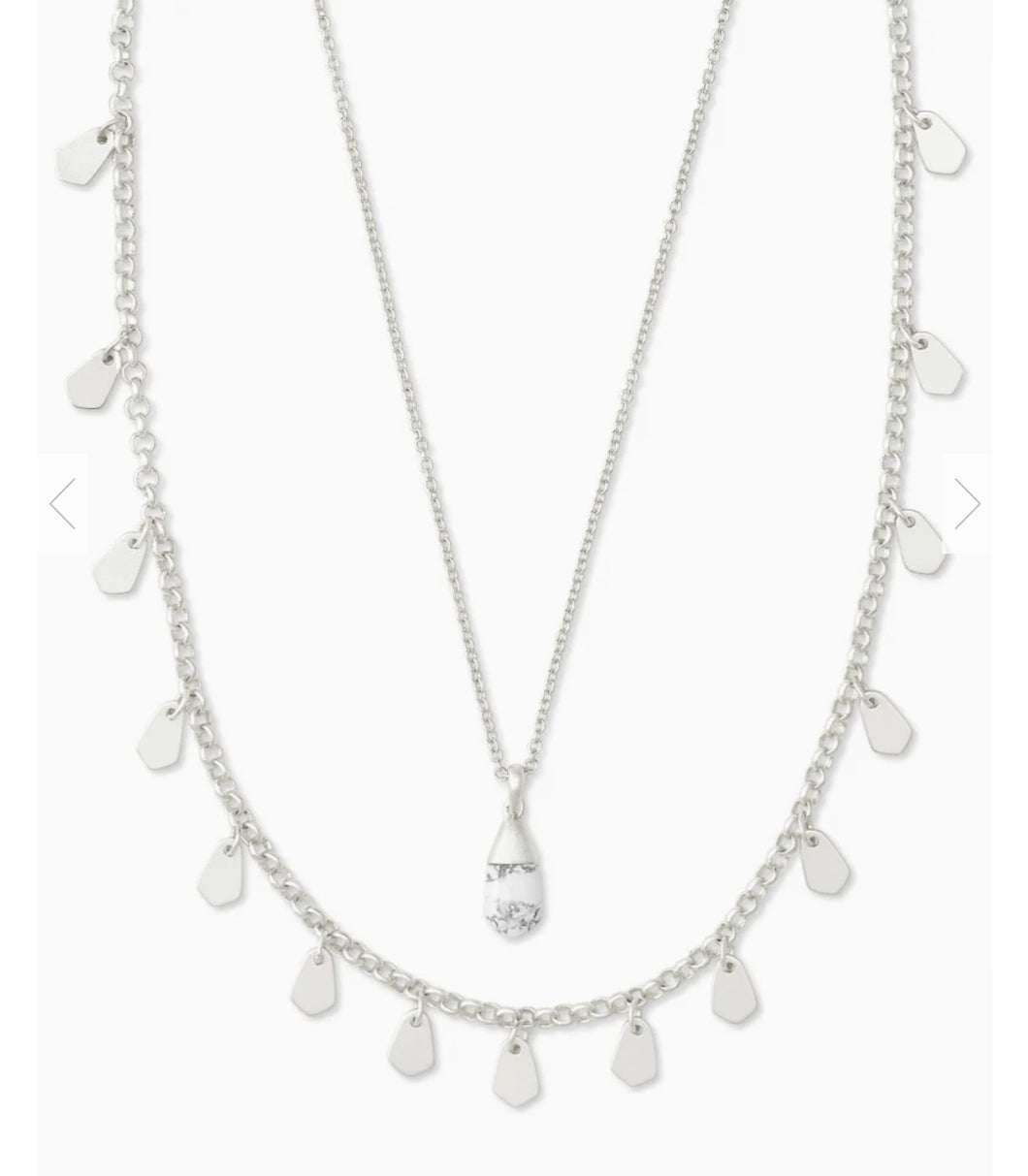 Kendra Scott Freida Silver Multi Strand Necklace in White Howlite