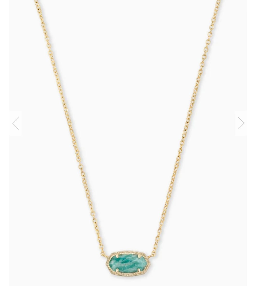 Kendra Scott Elisa Gold Pendant Necklace in Dark Teal Amazonite