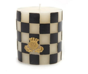 "MacKenzie-Childs Glow Home Apothecary Flower Market 3""Check Candle Black"