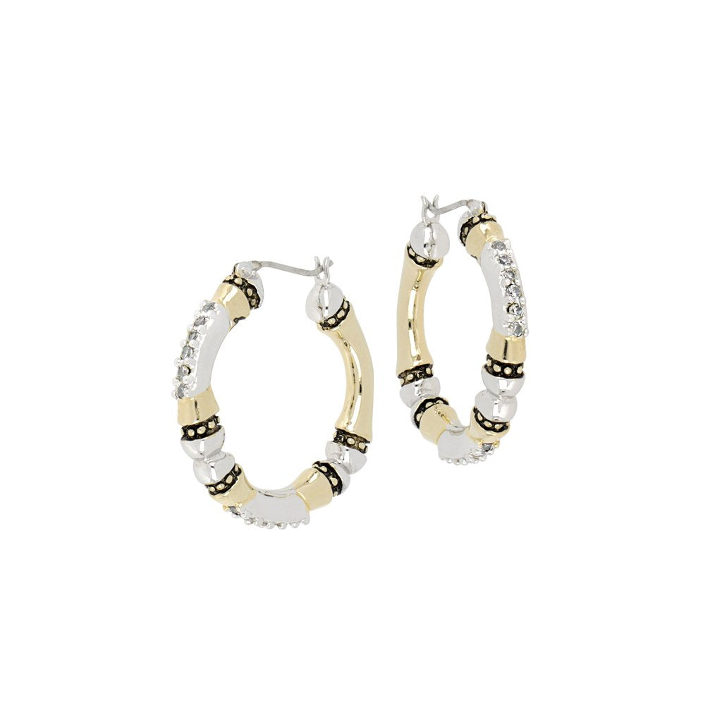 John Medeiros Canias Pave Large Hoops