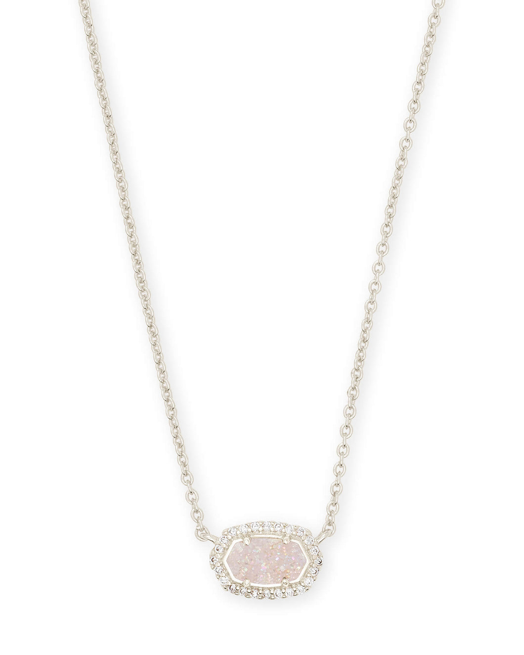 Kendra Scott Chelsea Silver Pendant Necklace in Iridescent Drusy