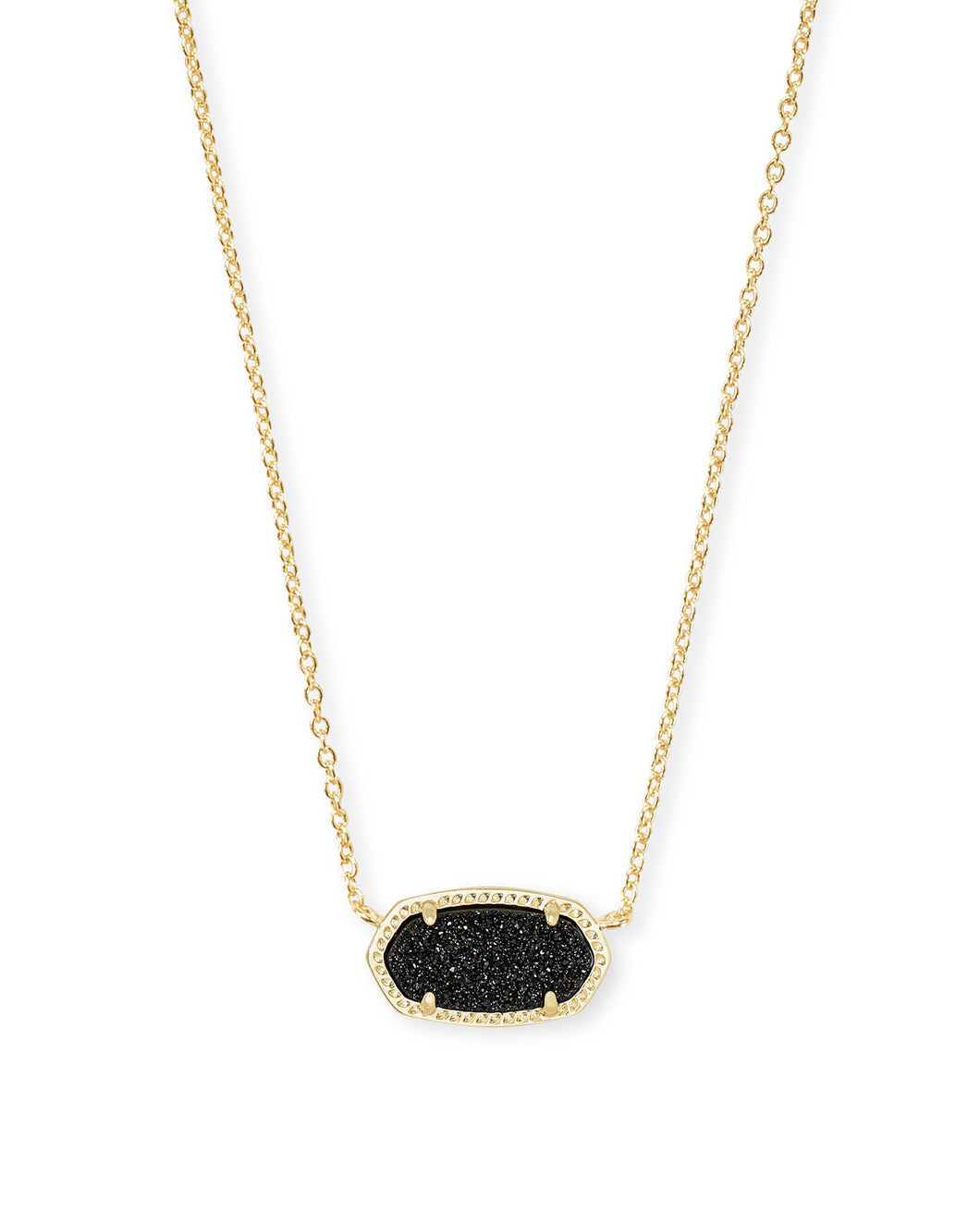 Kendra Scott Elisa Gold Pendant in Black Drusy