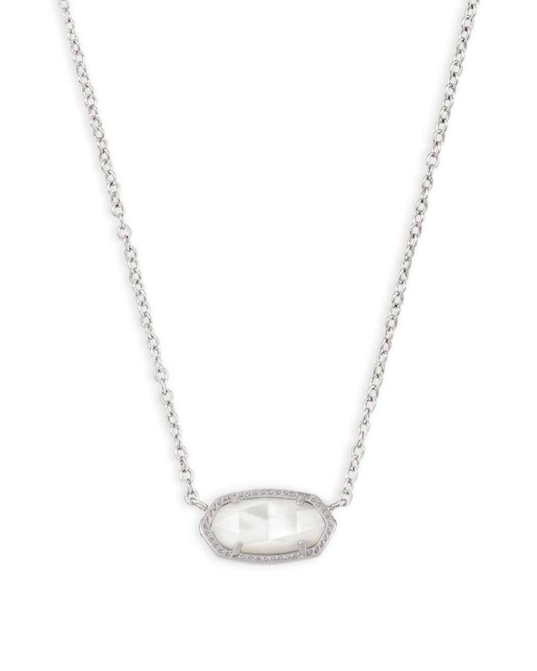 Kendra Scott Elisa Silver Pendant Necklace in Ivory Mother of Pearl